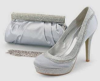 SHOEZY Womens Glitter Rhinestones High Heels Platform Shoes Matching Ruched Purse Bag