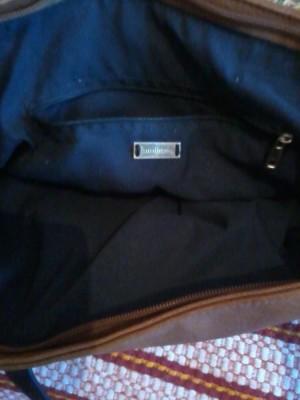 фото сумка коричневая подкалдка синяя