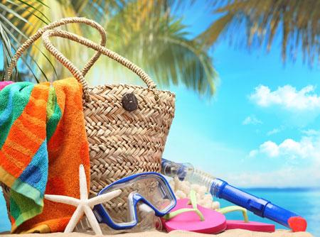 пляж море сумка плетеная солнце пальмы