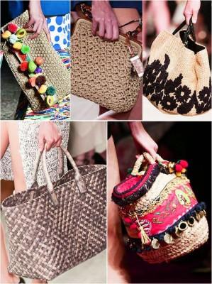 Тряпочные и соломенные сумки