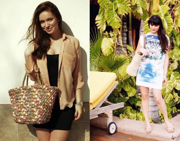 сумка из соломы на пляж летом