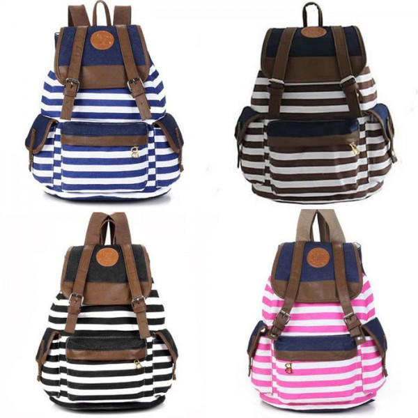 Подростков-девушки-парни-путешествия-свободного-покроя-сверхразмерные-холст-крест-полосы-школьный-рюкзак-мешок-школьный-ранец-Bookbag